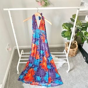 Victoria's Secret floral halter maxi dress